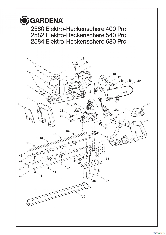 gardena heckenscheren elektro heckenschere 540 pro ersatzteile. Black Bedroom Furniture Sets. Home Design Ideas