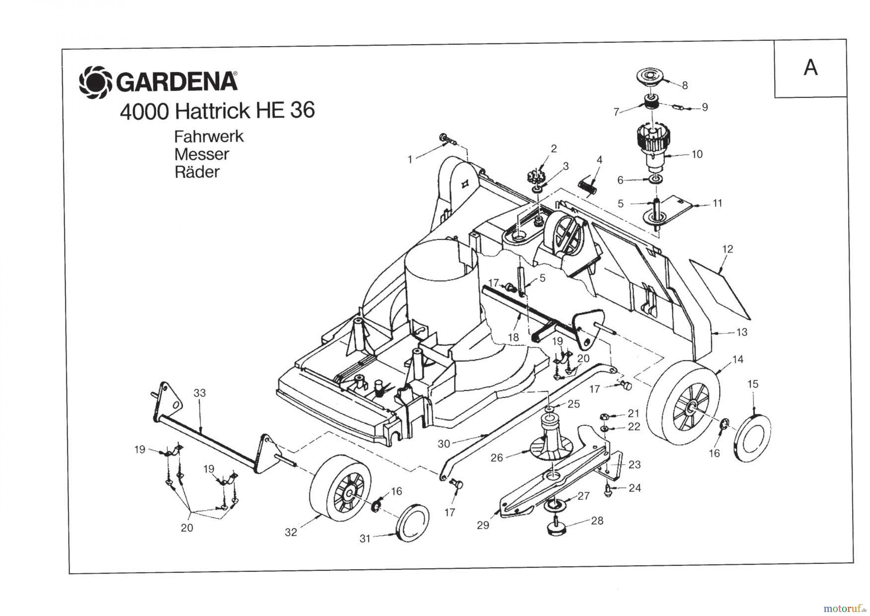 gardena rasenm her hattrick he 36 fahrwerk messer r der bis baujahr 2005 ersatzteile online. Black Bedroom Furniture Sets. Home Design Ideas