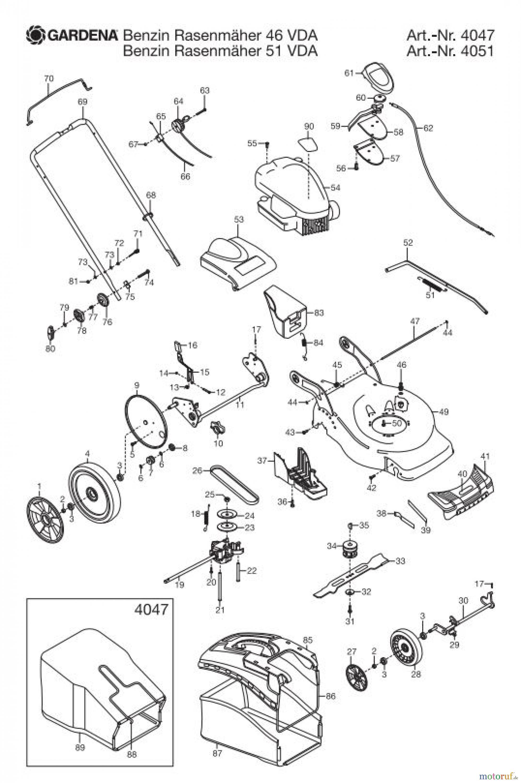 gardena rasenm her benzin rasenm her 46 vda ersatzteile. Black Bedroom Furniture Sets. Home Design Ideas