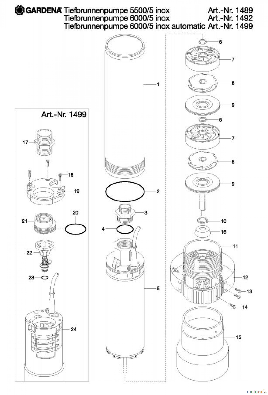 gardena wassertechnik pumpen tiefbrunnenpumpe 6000 5 inox automatic ersatzteile online kaufen. Black Bedroom Furniture Sets. Home Design Ideas