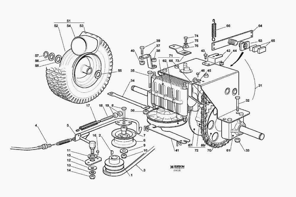 ersatzteillisten f r solo rasenm her getriebe el63 el63. Black Bedroom Furniture Sets. Home Design Ideas