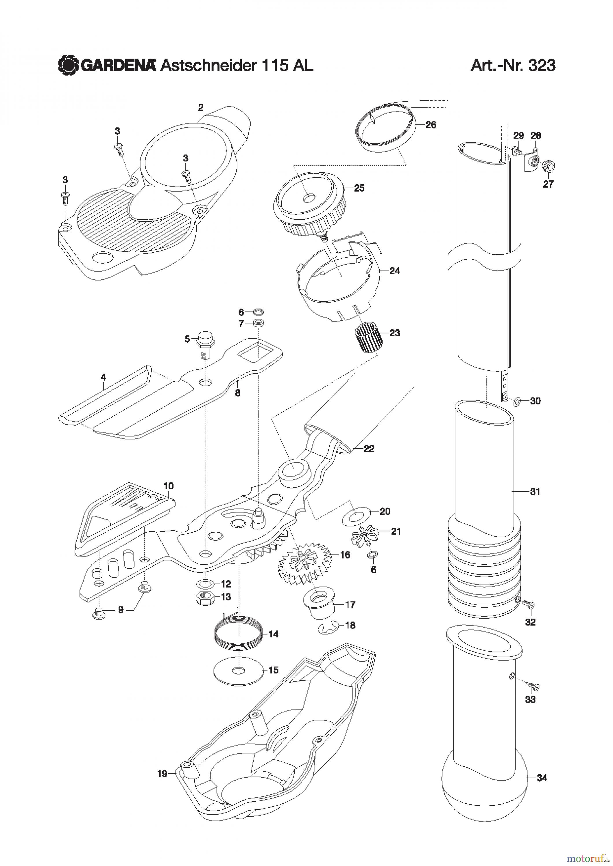 gardena gartenschere astschneider kurz 115 al ersatzteile g nstig online kaufen. Black Bedroom Furniture Sets. Home Design Ideas