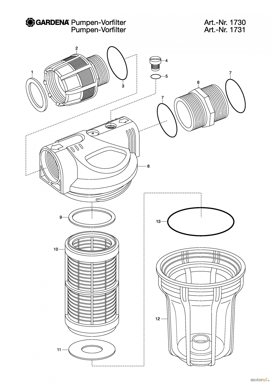 gardena wassertechnik filter pumpen vorfilter 6000 ersatzteile online bestellen. Black Bedroom Furniture Sets. Home Design Ideas