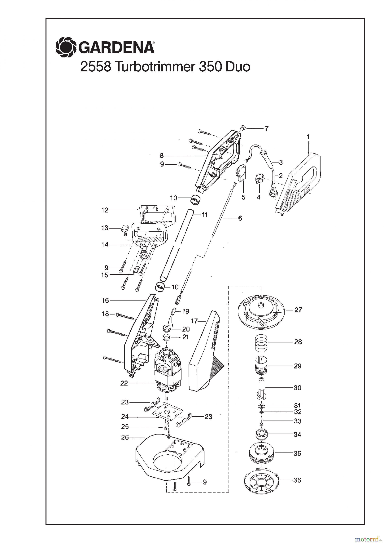 gardena trimmer turbotrimmer 350 duo bis baujahr 2001 ersatzteile online bestellen. Black Bedroom Furniture Sets. Home Design Ideas