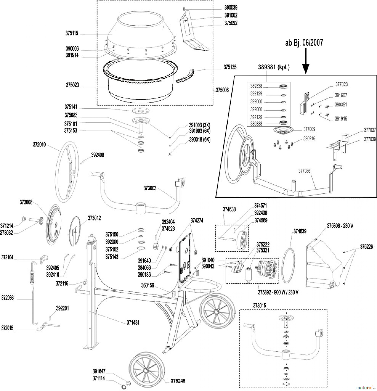 Atika Bau Betonmischer Format 190 Ersatzteile online bestellen