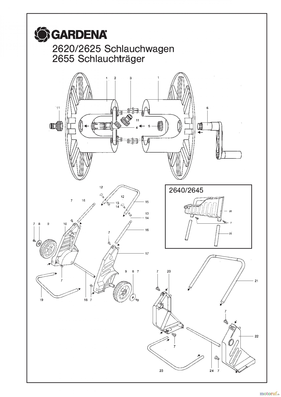 gardena wassertechnik schlauchwagen schlauchwagen 100 m bis baujahr 2000 ersatzteile online. Black Bedroom Furniture Sets. Home Design Ideas