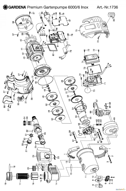 gardena wassertechnik pumpen premium gartenpumpe 6000 6 inox bis februar 2015 ersatzteile. Black Bedroom Furniture Sets. Home Design Ideas