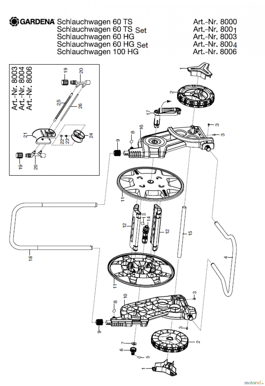 gardena wassertechnik schlauchwagen classic schlauchwagen 60 ts set ersatzteile g nstig online. Black Bedroom Furniture Sets. Home Design Ideas