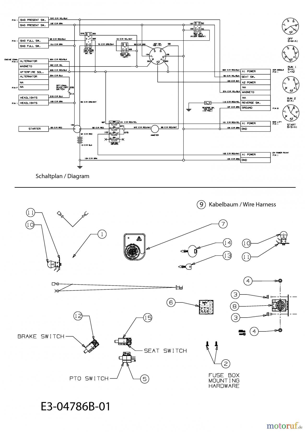 Gutbrod Rasentraktoren GLX 92 RHLK 13BG51GE690 (2010) Elektroteile ...
