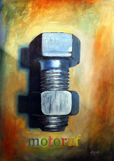 Ölbild einer Schraube